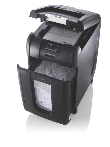 Rexel Auto+ 300M Aktenvernichter für Kleinbüros, Mikroschnitt, Autofeed, 40L Abfallbehälter, 330 Blatt Kapazität, Inkl. Aktenvernichter Ölblätter, Schwarz, 2104300EU