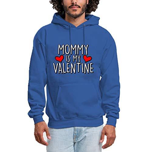 SHENMAHU Women Hooded Sweatshirt Sweet Simple Logo Mommy is My Valentine - Pullover Hoodie, Classic & Comfortable Kapuzenpulli XXXL Blue -