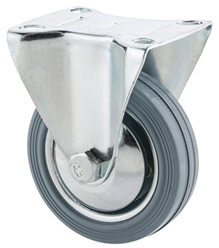 Steelex D2582 3-Inch 110-Pound Fixed Rubber Plate Caster, Gray by Steelex (English Manual)