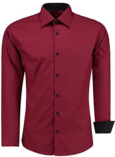 J'S FASHION Herren-Hemd – Slim Fit – Bügelleicht – Langarm-Hemd für Business Freizeit Hochzeit – Bordeauxrot - XL