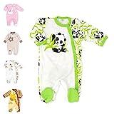 Baby Sweets Baby Strampler Mädchen/Jungen beige grün   Motiv Happy Panda   100% Bambus Material für Neugeborene & Kleinkinder   Größe: 3 Monate (62) ...