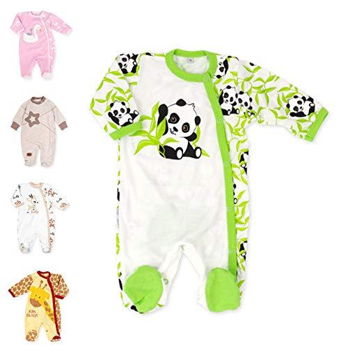 Baby Sweets Baby Strampler Mädchen/Jungen beige grün | Motiv Happy Panda | 100% Bambus Material für Neugeborene & Kleinkinder | Größe: 6 Monate (68) ...