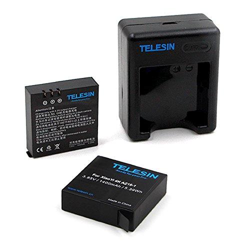 TELESIN 2 pcs 1400 mAh Rechargeable Li-on Batterie Avec USB Double Chargeur de Batterie Pour Xiaomi Yi 4K Sport Action Caméra 2