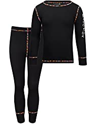 Kozi Kidz Vasa Base Layer - Conjunto térmico de ropa interior para niño, color negro, talla 100 cm