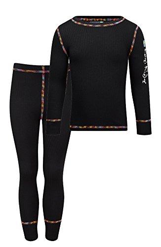 Kozi Kidz Vasa Base Layer - Conjunto térmico de ropa interior para niño, color negro, talla 120 cm