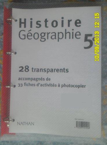 HISTOIRE GEOGRAPHIE 5EME CLASSEUR DE 28 TRANSPARENTS ET UN LIVRET
