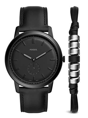Fossil Herren Analog Quarz Uhr mit Leder Armband FS5500SET