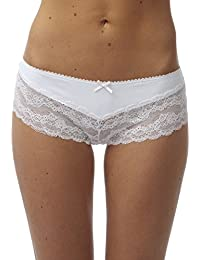 Marlon Womens/Ladies Underwear Knitted V Front Lace Briefs With Bow, Various Colours & Sizes