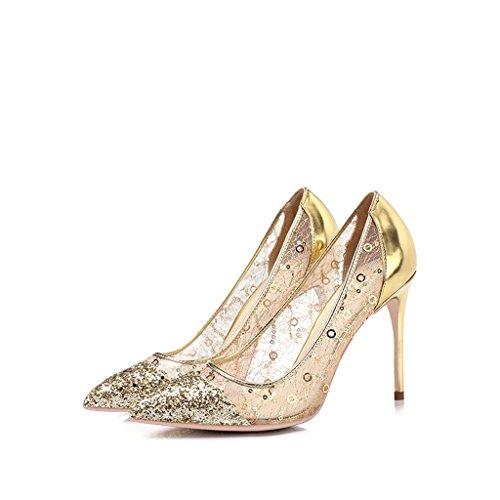 Talons hauts faits main en or fin avec des chaussures respirantes de 10 cm