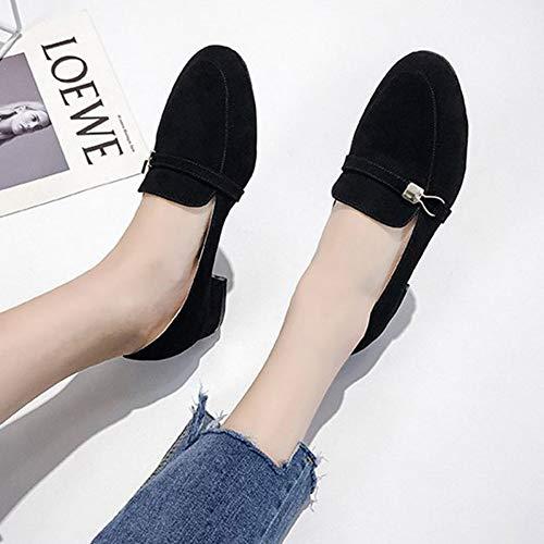 Espadrilles,Donne mocassini punta quadrata di slittamento sul piatto scarpe metallo Scarpe Casual in finta pelle scamosciata cappelli donna Scarpe Donna Zapatos Mujer scarpa barca vino nero,immagine