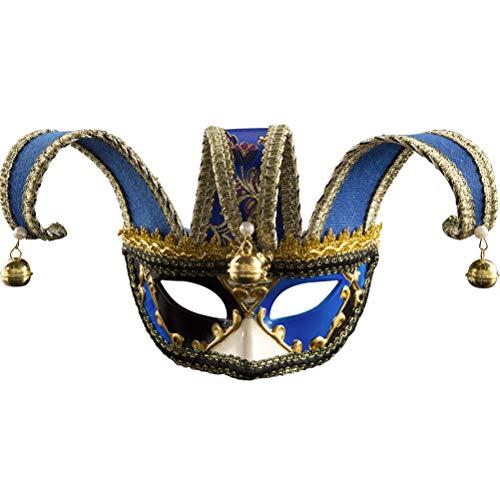 Zhuhaijq Venezianische Karnevals Party Maske - Halbes Gesicht Maske mit Glocken Halloween Maske Kostüm Mardi Gras