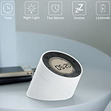Despertador,Glisteny Reloj Despertador LED Digital con Luz de Noche,con Función Snooze,Control de volteo,Blanco