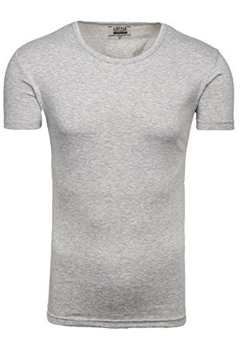 BOLF Herren T-Shirt Tee Kurzarm Classic V-Neck Rundhals Unifarben 3C3 Slim Fit Grau_2006