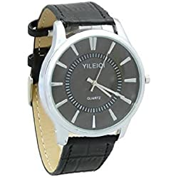 Yileiqi Men's Silver Plated Black PU Leather Strap Black Round Diial Wrist Watch