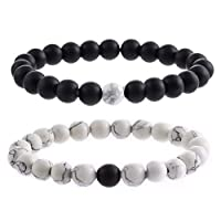 2Pcs Couples Distance Bracelet Classic Natural Stone White Black Beaded Bracelets for Men Women Best Friend memory gift