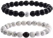 2Pcs Couples Distance Bracelet Classic Natural Stone White Black Beaded Bracelets for Men Women Best Friend me