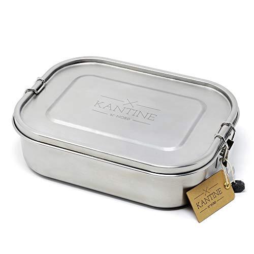 Kantine 51° Nord Lunchbox Classic Pro | Auslaufsichere XXL-Brotdose aus Edelstahl | 2 Fächer durch Flexible Trennwand | 100% plastikfrei, nachhaltig und gesund | Perfekt für Meal Prep