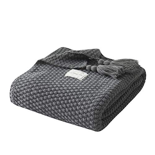 Telihome Faden Decke mit Quaste Solid Beige Decke für Bett Sofa Heimtextilien Mode Cape Gestrickter Teppich (Decke Und Werfen Schwarz Beige)