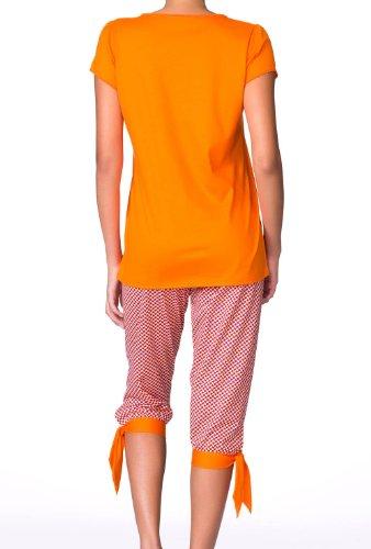 "Calida tropical motif ""3/4–pyjama pour femme avec poignets Orange - 082 pure orange"