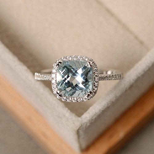 2,85CT Kissen Verlobung Diamant Ring Diamant Aquamarin-Ring Edelstein 14K Weiß Gold Alle Größe M