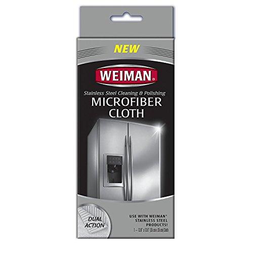 Weiman Mikrofasertuch für Edelstahl - hält Schmutz, Öl und Schmutz sicher auf und entfernt sie vor Kratzern -
