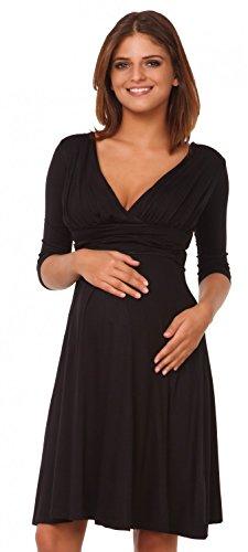 Happy Mama Femme. Robe patineuse maternité grossesse. Manches 3/4. 401p Noir