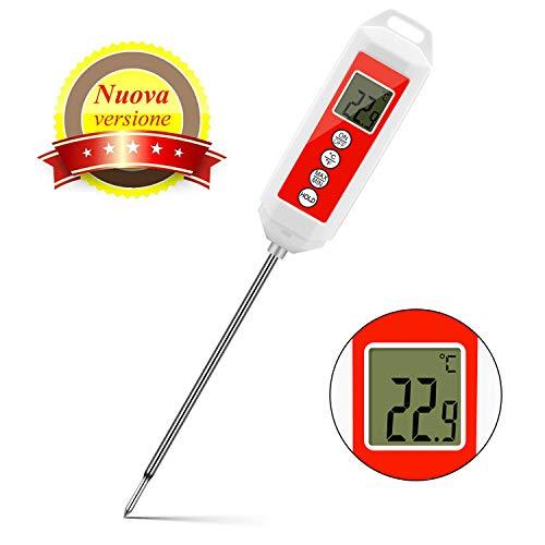 CHOELF Termometro da Cucina, Termometro Digitale Lettura Istantanea, Sonda Lunga, Termometri Schermo LCD per Carne, Barbecue, Latte e Acqua del Bagno