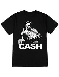 Official T Shirt JOHNNY CASH Vintage Classic Photo FINGER Logo L