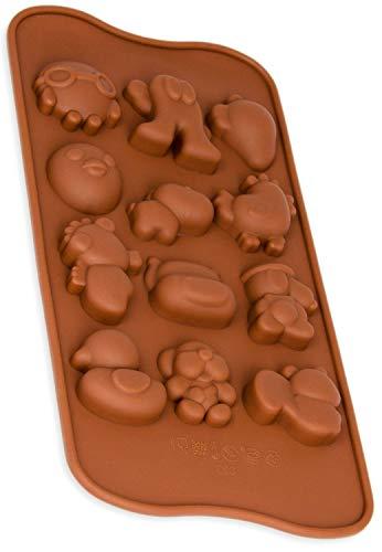 Silikonform mit Bauernhof-Tiere, Pralinenform, Schokolade, Giessform, Silicone Mold, Kindergeburtstag, Kuchenverzierung, Huhn, Hahn, Küken, Hund und mehr Deko-Figuren, Kuchen, Farbe: Braun, BlueFox -