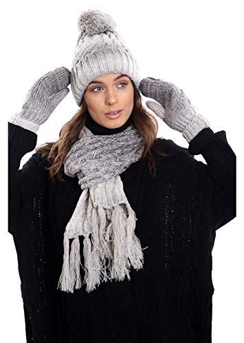 aaaf45ab7f398 Islander Fashions Ladies Fleece Lined Warm Scarf Hat And Mittens Set Women  Abbigliamento invernale Accessori Grigio