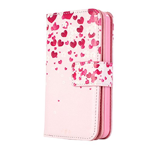 MOONCASE iPhone 5C Coque,[Butterfly] Relief Multifonction Fentes de Cartes Housse en Cuir Etui à rabat Case avec Portefeuille Béquille Fermeture Magnétique pour iPhone 5C Sweetheart