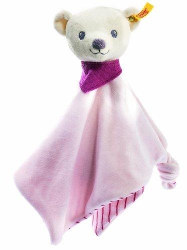 Steiff 238901 - Knuffi Bärchen Schmusetuch, 26 cm, weiß/rosa