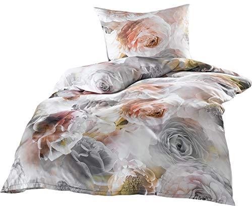 Edle Mako Satin Rosen Bettwäsche grau rosé 135x200 + 80x80 100% Baumwolle Grau Rose