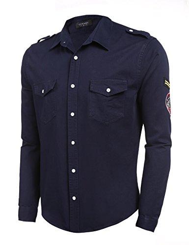 Coofandy Mens Casual Shirts Long Sleeve Military Shirt Slim Fit Badge Jacket
