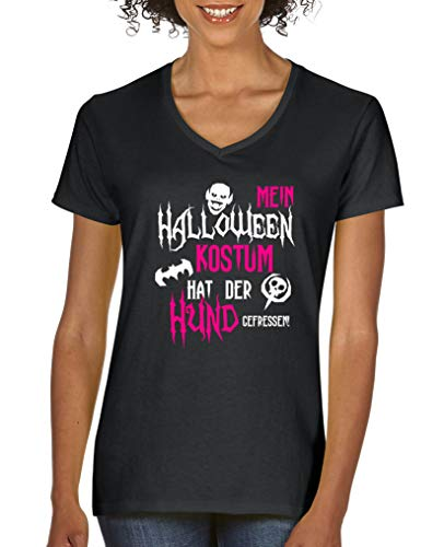 Halloween Kostuem hat der Hund gefressen - Damen V-Neck T-Shirt - Schwarz/Weiss-Pink Gr. L ()
