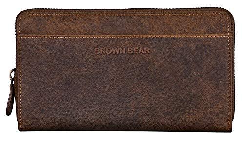 Brown Bear Geldbörse Damen Leder Braun lang groß viele Fächer mit RFID Blocker Schutz & Reißverschluss umlaufend hochwertig Vintage Geldbeutel Design Frauen Portemonnaie Portmonaise Portmonee -