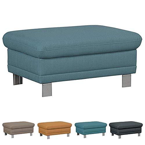 Cavadore Sofa-Hocker Marool / Fußbank passend zum Sofa Marool / Modernes Design / Größe: 102 x 47 x 65 cm (BxHxT) / Farbe: Blau -