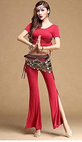 danza-del-ventre-completi-per-donna-addestramento-modal-drappeggi-2-pezzi-mezza-manica-naturale-pant