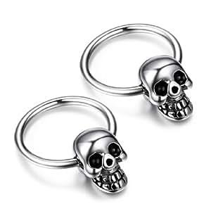 JewelryWe 2pcs Punk Rock Style Stainless Steel Mens Skull Head Hoop Earrings Set - Halloween Gift (with Gift Bag)