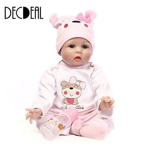 Decdeal Reborn Baby Puppe Silikon Babypuppe Mädchen mit Stoff Körper 55cm Augen Offnen, Magnetisch Mund (Baby Reborn Puppen Silikon-körper)