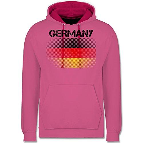 Fußball-WM 2018 - Russland - Germany Flagge - Kontrast Hoodie Rosa/Fuchsia