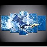AHJJK Stampa su Tela in Mare Blu tonno Tela di Alta qualità Immagini Moderni Murale Fotografia Grafica Decorazione da Parete 5 Pezzi Nessuna Cornice Solo la Tela XXL(40x60cmx2 40x80cmx2 40x100cmx1)