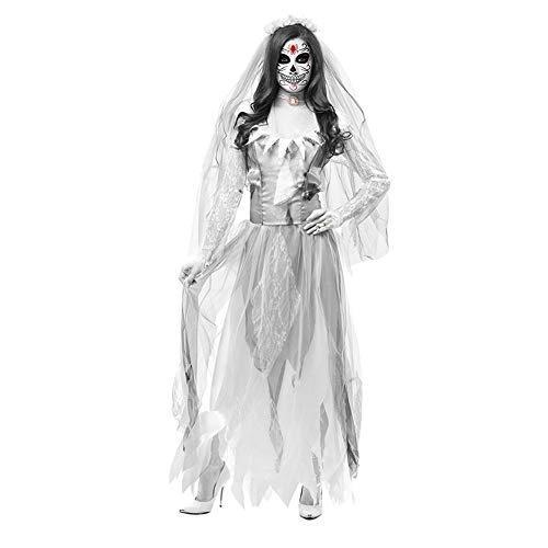 Frauen Cosplay Halloween Kostüm Horror Ghost Dead Corpse Zombie Braut Kleid,Weiß,M (Ghost Kostüm Party Stadt)