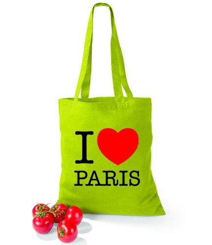 Artdiktat Baumwolltasche I love Paris Lime Green