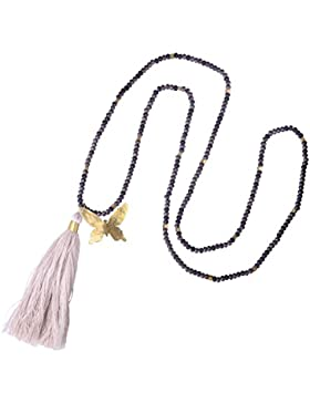 KELITCH Crystal Bead Chain Strand Necklace with Butterfly Tassel Pendant