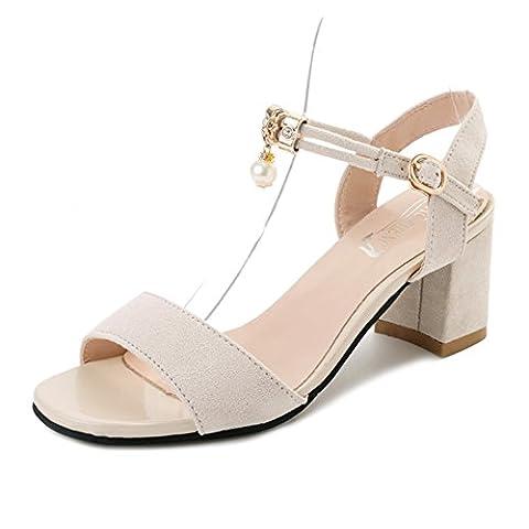 open toe,rough avec,une boucle de mot sandales femelles/fashion joker,simples high heels-A Longueur du pied=23.8CM(9.4Inch)