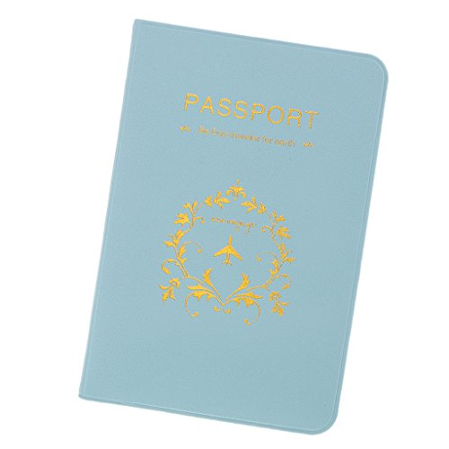 F Fityle Reisepasshülle PU Leder Reisepassetui Passport Hülle Dokumentetasche für Damen und Herren - Blau