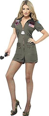 Smiffys, Sexy Damen Top Gun Aviator Kostüm, Playsuit und Sonnenbrille, Top Gun, Größe: M, 27084 (Großbritannien Kostüm)