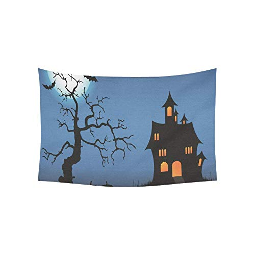 Alfreen Tapestry Art Decor, Halloween Pimpkin Castle Full Moon Bat Dead Tree Tapestries Wall Hanging Flower Psychedelic Tapestry Wall Hanging Indian Dorm Decor for Living Room Bedroom