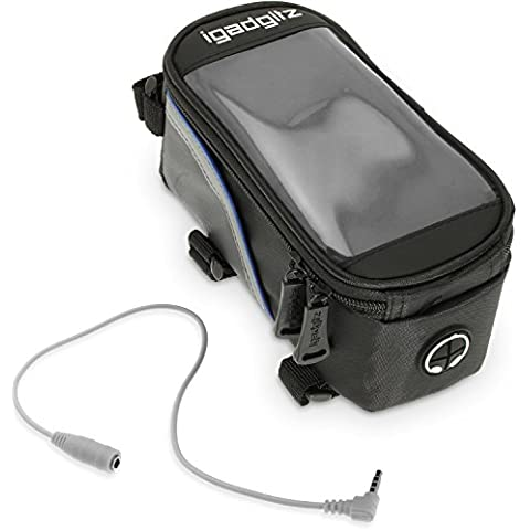 igadgitz Large Negro Bicicleta Bolsa Frontal Tubo Alforja Resistente al Agua Reflectante con Apple iPhone 6 PLUS 5.5